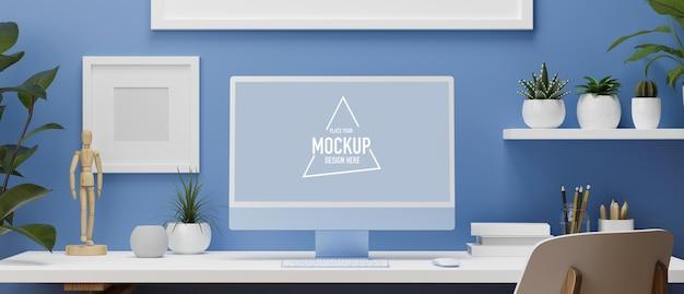 3d-darstellung blauer wandarbeitsraum mit computermonitor, weißem schreibtisch und bürobedarf
