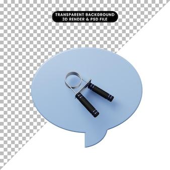3d-darstellung chat-blase mit handgriff