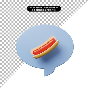 3d-darstellung chat-blase mit hot dog