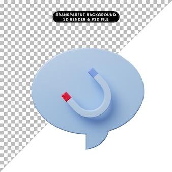 3d-darstellung chat-blase mit magnet