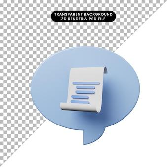 3d-darstellung chat-blase mit papier