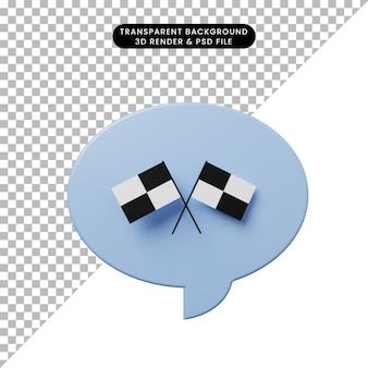 3d-darstellung-chat-blase mit rennflagge