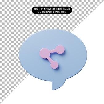 3d-darstellung-chat-blase mit share-symbol