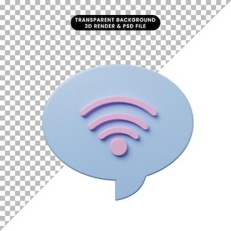 3d-darstellung chat-blase mit wlan-symbol