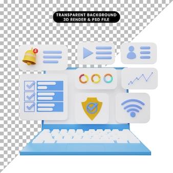 3d-darstellung der benutzeroberfläche auf dem laptop