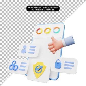 3d-darstellung der benutzeroberfläche auf dem smartphone