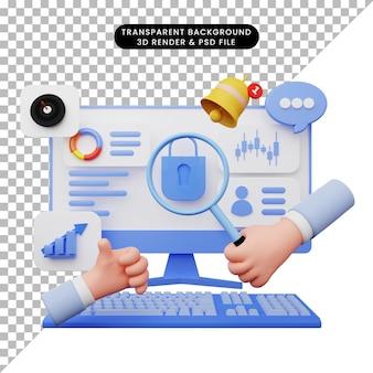 3d-darstellung der benutzeroberfläche mit monitor und tastatur
