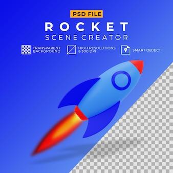 3d-darstellung der blauen rakete
