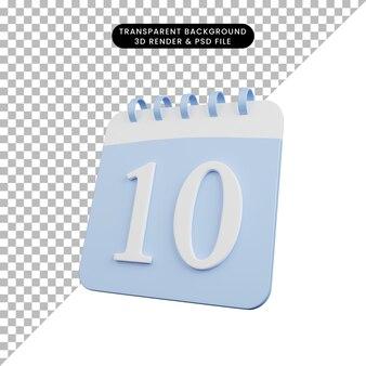 3d-darstellung der einfachen objektkalendernummer 10 Premium PSD
