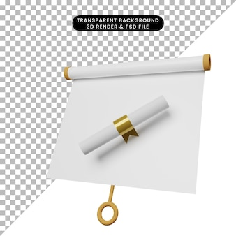3d-darstellung der einfachen objektpräsentationstafel leicht geneigter ansicht mit zertifikat