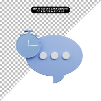 3d-darstellung der einfachen symbol-chat-blase mit uhrsymbol