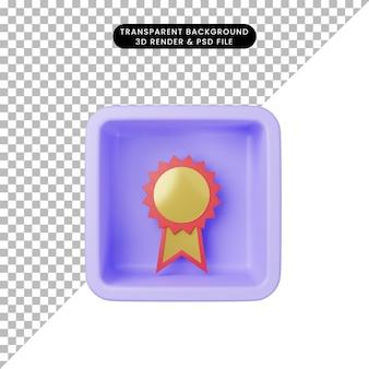 3d-darstellung der einfachen symbolmedaille auf würfel