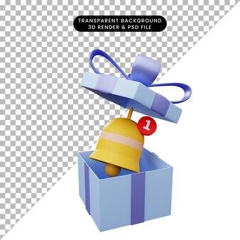 3d-darstellung der geschenkbox geöffnet mit benachrichtigungsglocke