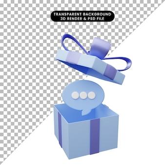 3d-darstellung der geschenkbox geöffnet mit chat-blase
