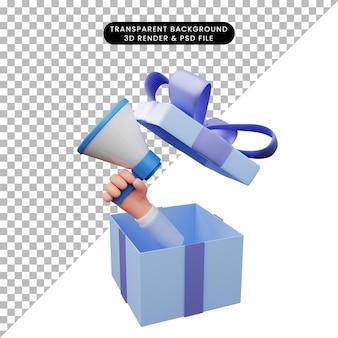 3d-darstellung der geschenkbox geöffnet mit der hand, die megaphon hält mega