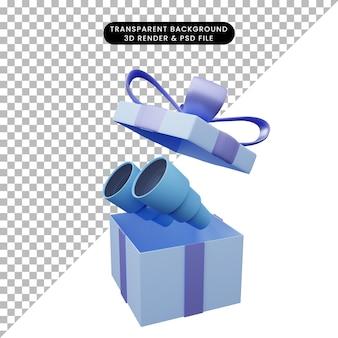 3d-darstellung der geschenkbox mit fernglas geöffnet open