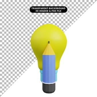 3d-darstellung der glühbirne mit bleistift Premium PSD