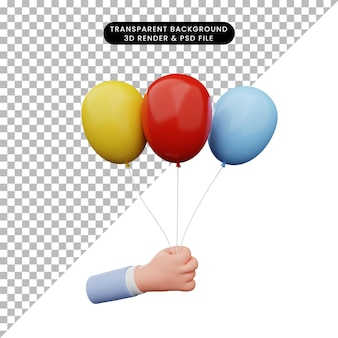 3d-darstellung der hand, die ballon hält