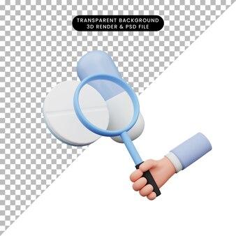 3d-darstellung der hand, die eine lupe zu den pillen hält