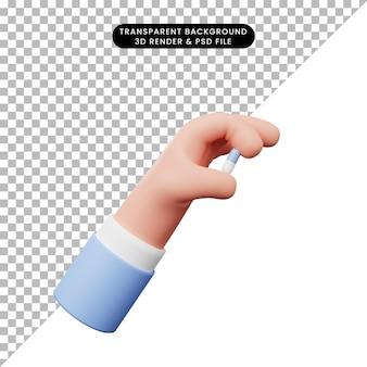 3d-darstellung der hand mit pillen