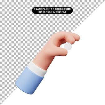 3d-darstellung der hand mit pillentablette