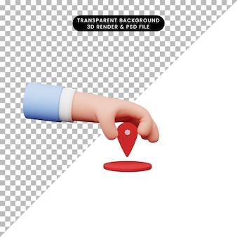 3d-darstellung der hand mit standortsymbol