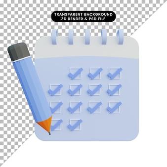 3d-darstellung der kalendercheckliste mit bleistift