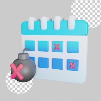 3d-darstellung der kalenderfrist mit bombe