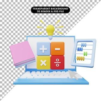 3d-darstellung der online-bildung