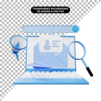 3d-darstellung der online-rekrutierung mit laptop