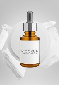 3d-darstellung der tropfflasche mit weißem stein für ihre produktpräsentation