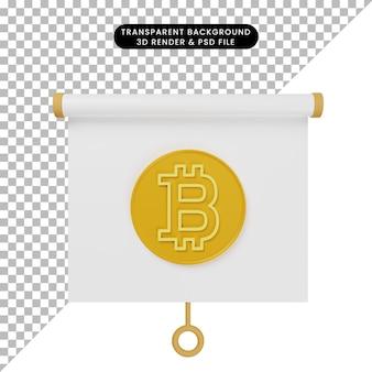 3d-darstellung der vorderansicht der einfachen objektpräsentationstafel mit bitcoin