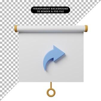 3d-darstellung der vorderansicht der einfachen objektpräsentationstafel mit freigabesymbol