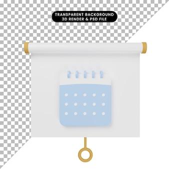 3d-darstellung der vorderansicht der einfachen objektpräsentationstafel mit kalender