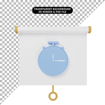3d-darstellung der vorderansicht der einfachen objektpräsentationstafel mit uhr