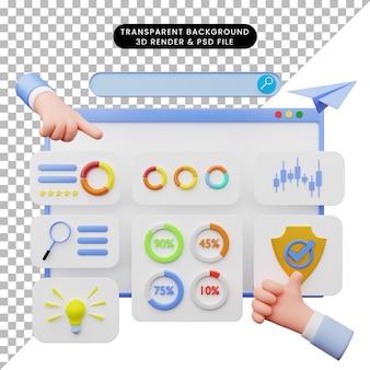 3d-darstellung der web-benutzeroberfläche illustration