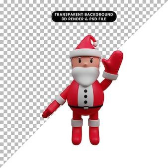 3d-darstellung der weihnachtsdekoration einfache weihnachtsmann-hände hoch hallo geste