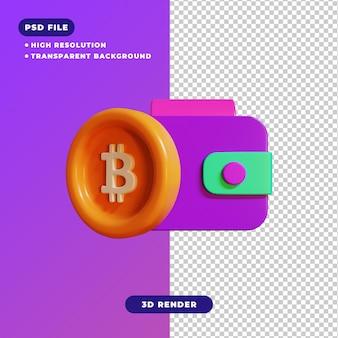 3d-darstellung des bitcoin-geldbörsensymbols