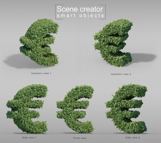 3d-darstellung des buxus-euro-geldsymbols