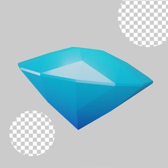 3d-darstellung des diamanten mit blauer farbe