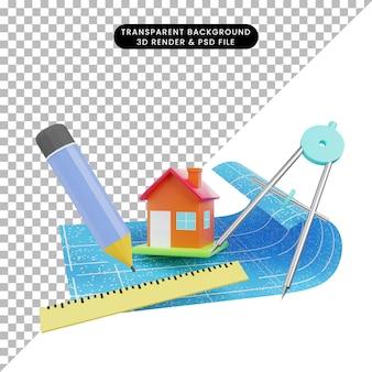 3d-darstellung des einfachen objekthauses mit blaupausenlineal bleistift orleon begriff