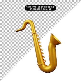 3d-darstellung des einfachen objektmusikinstruments saxophon
