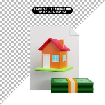 3d-darstellung des einfachen objektpapierhauses mit geld