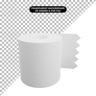 3d-darstellung des einfachen symbol-toilettenpapiers