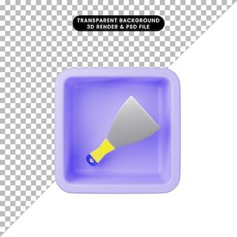 3d-darstellung des einfachen symbols spachtelmesser auf würfel