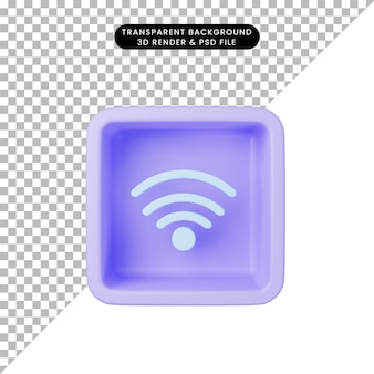 3d-darstellung des einfachen symbols wifi auf dem würfel