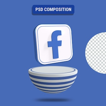 3d-darstellung des facebook-symbols mit blau gestreiftem podium
