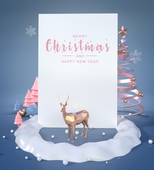 3d-darstellung des guten rutsch ins neue jahr und der frohen weihnachten