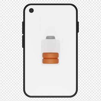 3d-darstellung des halben telefonbatteriesymbols psd