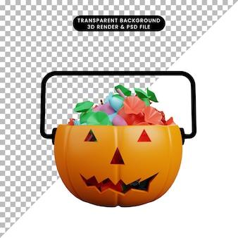3d-darstellung des halloween-konzept-kürbiskopfes mit süßigkeiten